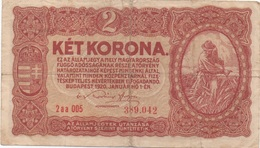 Hongrie : 2 Korona1920 Mauvais état - Hongrie