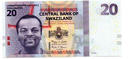 SWAZILAND 20 EMALANGENI PICK 37a UNCIRCULATED - Swaziland