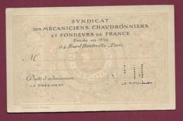 050720A -  75 PARIS Rue D'Hauteville - Carte Membre Syndicat Mécaniciens Chaudronniers Fondeurs De France - District 10