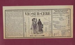 050720B - Etiquette Ancienne D'eau Minérale PUB 1914 - 15 VIC SUR CERE Eaux Minérales Naturelles - Etichette