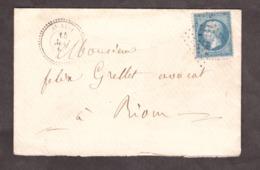 LSC - 15 Mai 1867 - T22 St Avit (Puy De Dôme) Pour Riom - GC 3515 Sur N° 22 - Verso En Note - 1849-1876: Période Classique