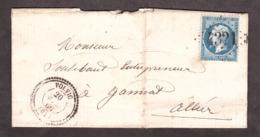 LAC - 20 Avril 1866 - T22 Volvic (Puy De Dôme) Pour Gannat (Allier) - GC 4321 Sur N° 22 - Verso En Note - 1849-1876: Période Classique