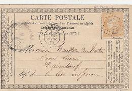 CARTE PRECURSEUR. 17 AVRIL 73. N° 59. PERLÉ T24 Ste PAZANNE. LOIRE INFERIEURE. GC 4669 POUR PAIMBOEUF - 1849-1876: Période Classique