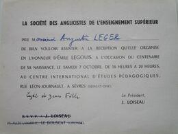 Invitation De Mr Augustin LEGER (journaliste Er écrivain) Par La Société Des Anglicistes De L'Enseignement Supérieur - Sonstige