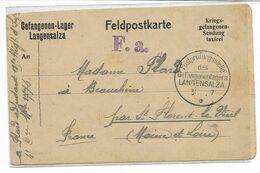 1917 Courrier D'un Adjudant  Prisonnier Français Au Camp De LANGENSALZA -détail Du Colis Reçu -censure- Voir 2 Scans - 1914-18