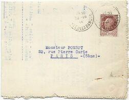 LETTRE  1944 AVEC  TIMBRE AU TYPE PETAIN PERFORE F T  - LA FONCIERE - - Gezähnt (Perforiert/Gezähnt)