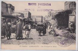 MARRAKECH - Rue Principale Du Mellah Troupes D'Occupation Du Maroc Occidental Cachet Correspondance Militaire - Marrakesh