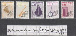 France Préo Instruments De Musique (1992) Y/T N° 214/218 Neufs ** à 10% De La Cote - Préoblitérés