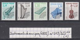 France Préo Instruments De Musique (1992) Y/T N° 219/223 Neufs ** à 10% De La Cote - Préoblitérés
