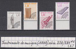 France Préo Instruments De Musique (1993) Y/T Série N° 228/231 Neufs ** à 10% De La Cote - Préoblitérés