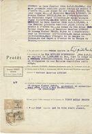 ACTE DE PROTÊT  1934 AVEC 2  TIMBRES FISCAUX  PERFORES  ARMAND FOREST - Gezähnt (Perforiert/Gezähnt)
