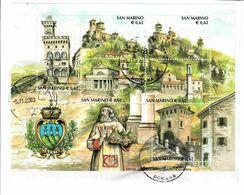 SAN MARINO  2003 - SERIE TURISTICA FOGLIETTO USATO SU FRAMMENTO - San Marino