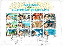 SAN MARINO  1996 - STORIA DELLA CANZONE ITALIANA  FOGLIETTO USATO SU FRAMMENTO - Saint-Marin