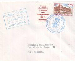 Lettre Avec Timbre De Gréve Libourne 1968 - Strike Stamps