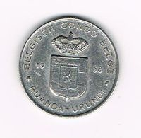&  BELGISCH CONGO   BELGE - RUANDA  URUNDI   1 FRANC  1958 - 1951-1960: Boudewijn I