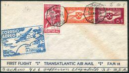 1939 Portugal FAM 18 First Flight Cover, Lisbon - New York, USA. Transatlantic Air Mail - Poste Aérienne