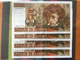 FRANCE Lot De 4 Billets 10 Francs Berlioz Numéro Qui Se Suivent Jamais Circuler Sans Trous D'épingles RARE état SPL - 1962-1997 ''Francs''