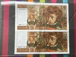 FRANCE Lot De 2 Billets De 10 Francs Berlioz Numéros Qui Se Suivent Sans Trous D'épingle RARE état SPL - 1962-1997 ''Francs''