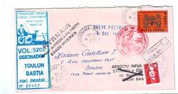 Sur Lettre Avec Timbres De Gréve Bastia 1995 - Strike Stamps