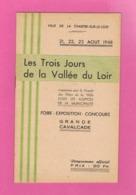 D72. LA CHARTRE SUR LE LOIR . LES TROIS JOURS DE LA VALLEE DU LOIR. CAVALCADE. Programme De Plusieurs Pages. - Centre - Val De Loire