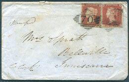 1849 GB Ireland 1d Red Imperf X 2 Cover, Boyle 70 Diamond + C.D.S. - 1840-1901 (Regina Victoria)