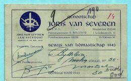 N°528 Op Lidkaart Genootschap JORIS VAN SEVEREN Abbeville 20/05/1940, Afst. SINT-NIKLAAS 12/04/1943 + Vignet AFWEZIG - WW II