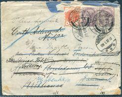 1899 GB London Paddington Cover - Denmark / Norway Redirected, Kristiania Copenhagen Stavanger. Well Travelled! - Storia Postale