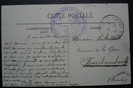 Boulangerie De Campagne N°17, Cachet Bleu Sur Carte De Fontainebleau Pour Fourchambault - Postmark Collection (Covers)