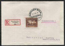 R-Brief, Einschreiben, Block 4 M. Sonderstempel München Riem, Rennplatz N. Augsburg, Sonder R-Zettel, AkSt. - Briefe U. Dokumente