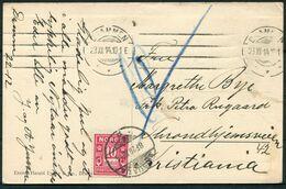 1914 Norway Norsk Winter Skiing Postcard. Drammen - Christiania. Postage Due, Taxe, Portomark. - Norwegen