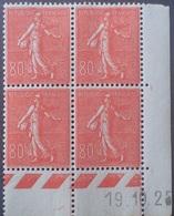 R1306/72 - 1925 - TYPE SEMEUSE FOND LIGNE - N°203 BLOC NEUF** CD : 19.10.25 - Cote (2020) : 350,00 € - Coins Datés