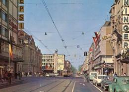 Tram/Strassenbahn Karlsruhe,Kaiserstraße,VW Käfer Brezel,Bus T1,Opel Rekord A, Gelaufen - Tranvía