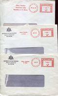 56045 San Marino, 3 Differents Red Meters Freistempel  1974-1975 Ufficio Filatelico  Repubblica San Marino - Saint-Marin