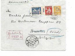 SH 0561. N° 104-125-128 VALGA 12.VII.34 S/Lettre RECOMMANDEE Vers Bruxelles. TB - Estonia