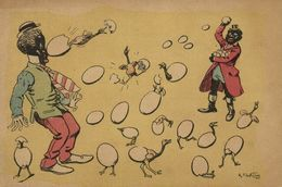 Artist Signed R.de La Néziere, Colored People Throwing Eggs, Stage Costumes (1904) V - Andere Zeichner