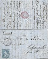 Brieflein  Thun - Sulgeneck Bern  (Bahnstempel)           1867 - 1862-1881 Sitted Helvetia (perforates)
