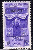 ITALY ITALIA TRIESTE A 1953 AMG-FTT OVERPRINTED ORDINI CAVALLERESCHI AL MERITO DEL LAVORO MNH BEN CENTRATO - Ungebraucht