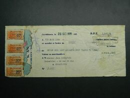 1935 Maroc Fiscal : Timbres Fiscaux 20 30 40 C Sur Mandat - Morocco Revenue Stamp On Warrant - Otros