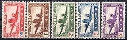NIGER (Colonie Française) - 1942 - P.A. - N° 10 à 14 - (Légende : NIGER) - Nuovi