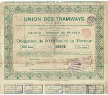 Titre Ancien - Union Des Tramways - Société Anonyme - Obligation De 1896 - Détériorée - - Chemin De Fer & Tramway