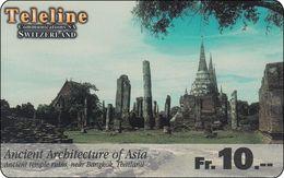Schweiz  Phonecard Teleline Thailand Temple Ruin Near BKK - Svizzera