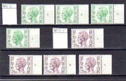 Belgique 1971-75, Timbres Militaires, Roi Baudoin Avec M, M2 Et M5** N° Planches Complets - Military (M Stamps)