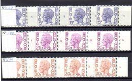 Belgique 1971-78, Timbres Services, Baudoin Avec S, S 67 – S 75 – S 79** N° De Planches Complets, - Military (M Stamps)