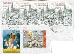 SAN MARINO 2007/8 - MADONNA DI LOURDES + PALLADIO + NATALE  - 6 VALORI USATI SU FRAMMENTO - San Marino