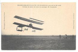 Cpa..Reims.semaine D'aviation De Champagne (journée Du 28 Aout 1909).Farman En Plein Vol Avec Un Passager (M. Hewatson) - Aviateurs