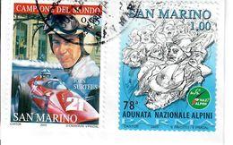 "SAN MARINO 2005 - 1 VALORE ""FERRARI"" + 1 VALORE ""ADUNATA ALPINI"" - 2 VALORI USATI  SU FRAMMENTO - San Marino"