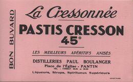Buvard Ancien /La Cressonnée/PASTIS CRESSON 45°/Distilleries Paul Boulanger/ PANTIN/Advert/ Vers 1950             BUV454 - Liquor & Beer