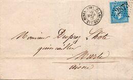 Haute Saône -  Lettre De 1865 -  Cad 15 PLANCHER-LES-MINES ( 69 )   GC 2873 Sur N° 22 Adressée à  MARLE Aisne - 1849-1876: Klassik