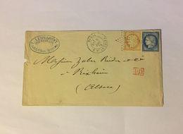 Lettre Affranchie à 40c En étoiles De Paris N°21 Sur N°59/60a - 1871-1875 Ceres