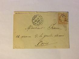 Lettre Affranchie à 10c En Losange De Points Gros Chiffre N°20 Sur N°21 - 1849-1876: Période Classique